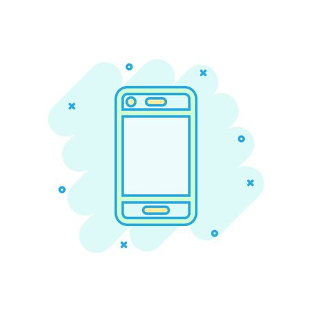 Phone device sign icon in comic style. Smartphone vector cartoon illustration on white isolated background. Telephone business concept splash effect. Archivio Fotografico - 129142612