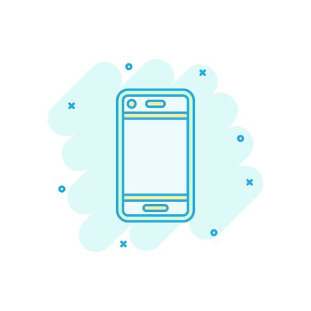 Phone device sign icon in comic style. Smartphone vector cartoon illustration on white isolated background. Telephone business concept splash effect. Archivio Fotografico - 129142605