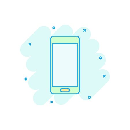 Phone device sign icon in comic style. Smartphone vector cartoon illustration on white isolated background. Telephone business concept splash effect. Archivio Fotografico - 129142607