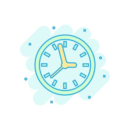 Clock sign icon in comic style. Time management vector cartoon illustration on white isolated background. Timer business concept splash effect.