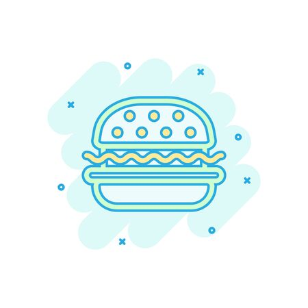 Burger sign icon in comic style. Hamburger vector cartoon illustration on white isolated background. Cheeseburger business concept splash effect.