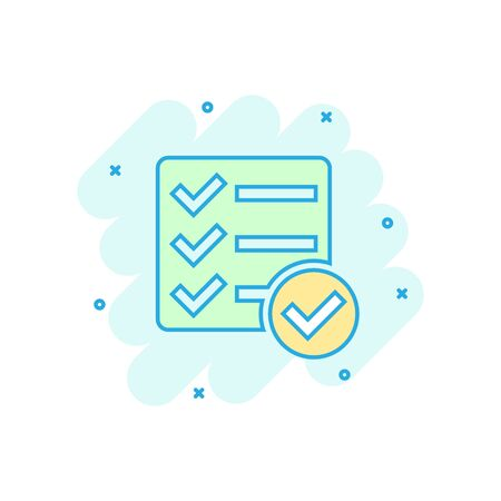 Checklist document sign icon in comic style. Survey vector cartoon illustration on white isolated background. Check mark banner business concept splash effect.