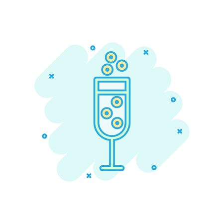 Champagne glass icon in comic style. Alcohol drink vector cartoon illustration on white isolated background. Cocktail splash effect business concept. Illustration