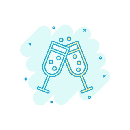 Champagne glass icon in comic style. Alcohol drink vector cartoon illustration on white isolated background. Cocktail splash effect business concept.