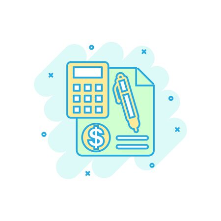 Money calculation icon in comic style. Budget banking vector cartoon illustration on white isolated background. Financial payment splash effect business concept.