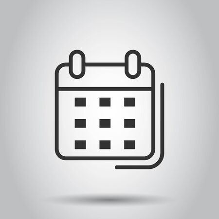 Calendar organizer icon in transparent style. Appointment event vector illustration on isolated background. Month deadline business concept.