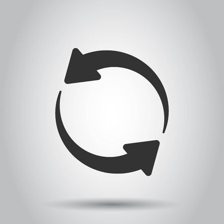 Arrow rotation icon in transparent style. Sync action vector illustration on isolated background. Refresh button business concept.