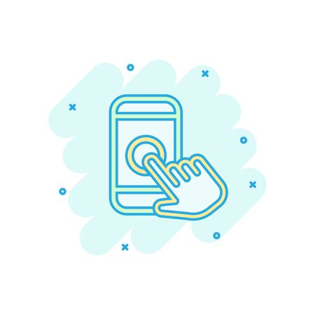 Hand touch smartphone icon in comic style. Phone finger vector cartoon illustration on white isolated background. Cursor touchscreen business concept splash effect.