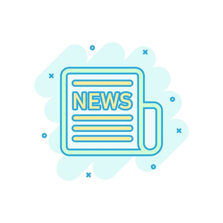 Newspaper icon in comic style. News vector cartoon illustration on white isolated background. Newsletter business concept splash effect.