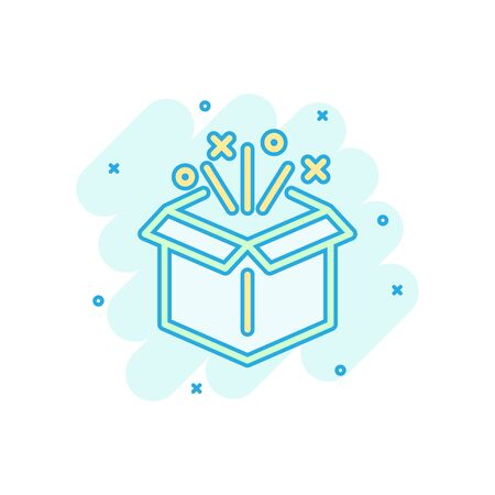 Gift box icon in comic style. Magic case vector cartoon illustration on white isolated background. Present business concept splash effect. Иллюстрация
