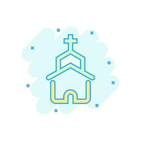 Church icon in comic style. Chapel vector cartoon illustration on white isolated background. Religious building business concept splash effect. Stock Illustratie