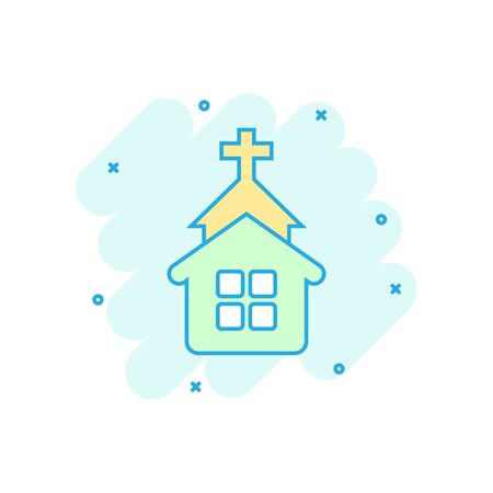 Church icon in comic style. Chapel vector cartoon illustration on white isolated background. Religious building business concept splash effect. Иллюстрация