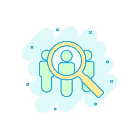 Search job vacancy icon in comic style. Loupe career vector cartoon illustration on white isolated background. Find people employer splash effect business concept.