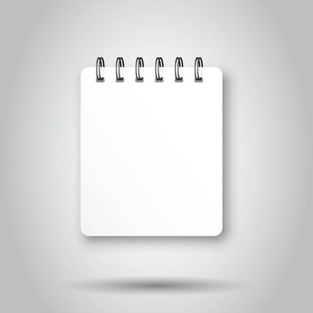 Blank mock up notepad icon in transparent style. Spiral notebook document vector illustration on isolated background. Diary paper page template business concept. Иллюстрация