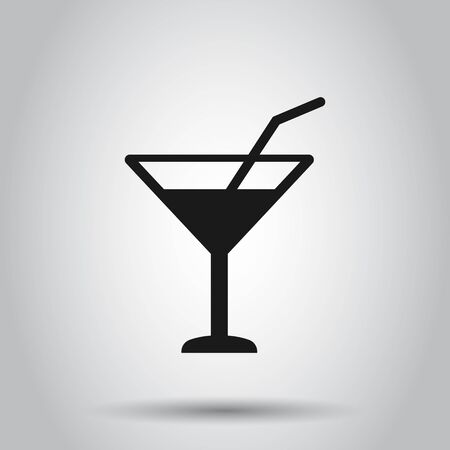 Alcohol cocktail icon in flat style. Drink glass vector illustration on isolated background. Martini liquid business concept.