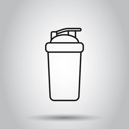 Shaker icon in flat style. Sport bottle vector illustration on isolated background. Fitness container business concept.