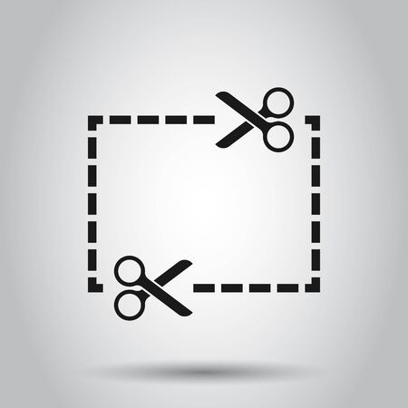 Coupon cut lines icon in flat style. Scissors snip vector illustration on isolated background. Sale sticker business concept.