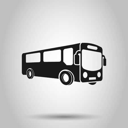 School bus icon in flat style. Autobus vector illustration on isolated background. Coach transport business concept.
