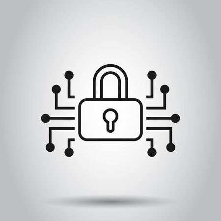 Cyber security icon in flat style. Padlock locked vector illustration on isolated background. Closed password business concept.