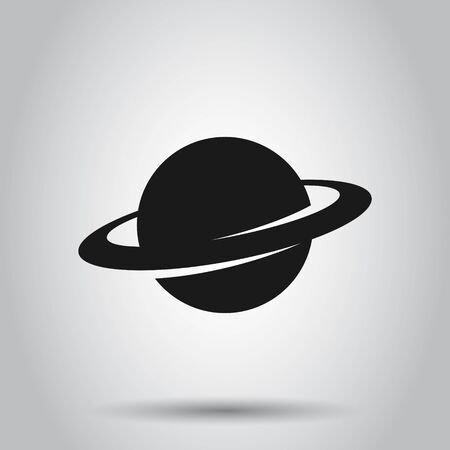 Saturn icon in flat style. Planet vector illustration on isolated background. Galaxy space business concept.