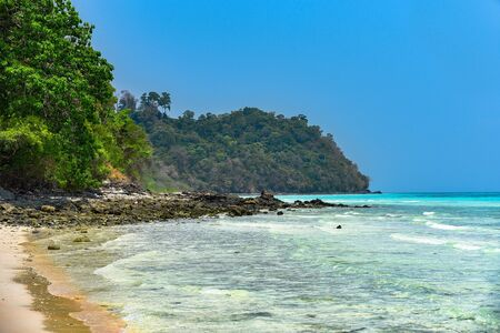 Tropical paradise beach. Thailand seascape lagoon. Soft beautiful sea water.