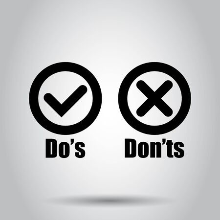 Dos and donts sign icon in flat style. Like, unlike vector illustration on isolated background. Yes, no business concept.