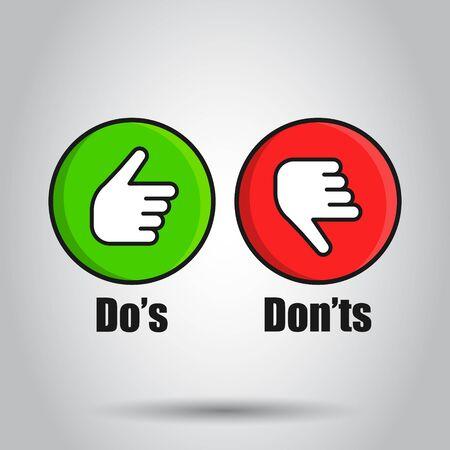 Do's and Don'ts-Symbol im flachen Stil. Wie im Gegensatz zu Vektorillustrationen auf weißem Hintergrund Ja, kein Geschäftskonzept.