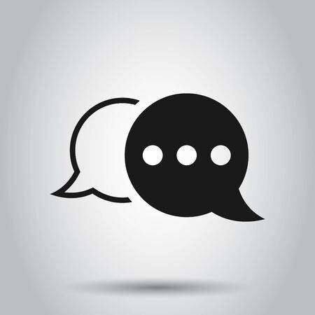 Speak chat sign icon in flat style. Speech bubbles vector illustration on isolated background. Team discussion button business concept. Ilustrace