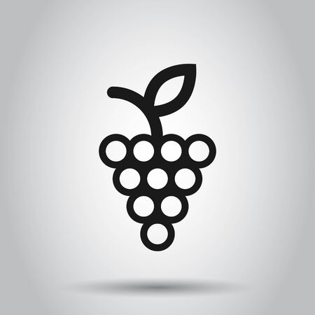 Grape fruits sign icon in flat style. Grapevine vector illustration on isolated background. Wine grapes business concept.