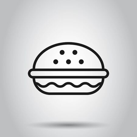 Burger sign icon in flat style. Hamburger vector illustration on isolated background. Cheeseburger business concept. Ilustrace