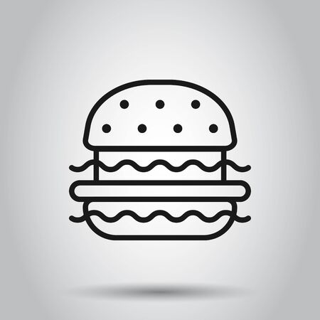 Burger sign icon in flat style. Hamburger vector illustration on isolated background. Cheeseburger business concept. Archivio Fotografico - 129153209