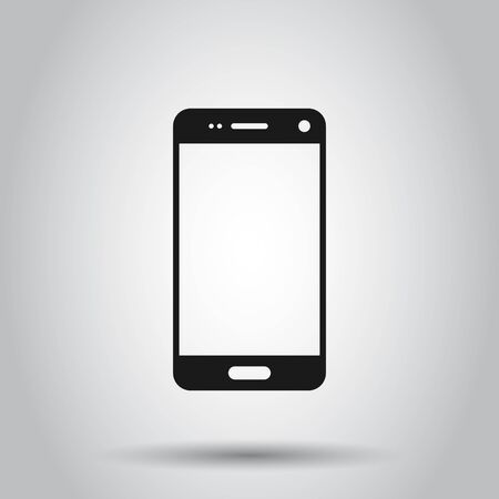 Phone device sign icon in flat style. Smartphone vector illustration on isolated background. Telephone business concept. Archivio Fotografico - 129153214