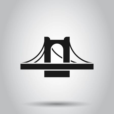 Bridge sign icon in flat style. Drawbridge vector illustration on isolated background. Road business concept.