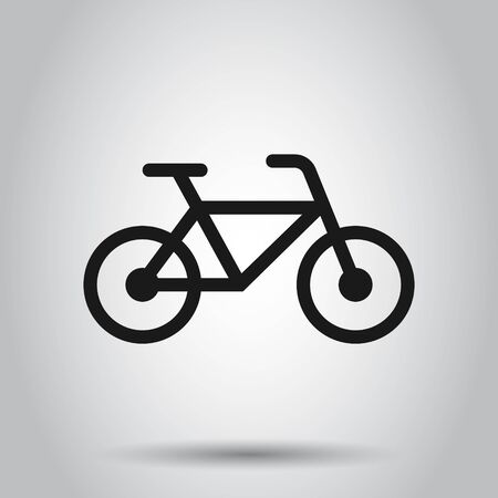 Bicycle sign icon in flat style. Bike vector illustration on isolated background. Cycling business concept.
