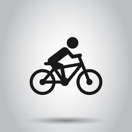 People on bicycle sign icon in flat style. Bike vector illustration on isolated background. Men cycling business concept. Illusztráció