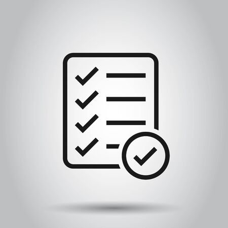 Checklist document sign icon in flat style. Survey vector illustration on isolated background. Check mark banner business concept.  イラスト・ベクター素材