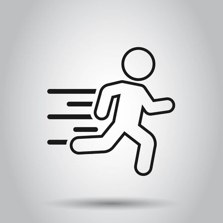 Running people sign icon in flat style. Run silhouette vector illustration on isolated background. Motion jogging business concept. Illusztráció