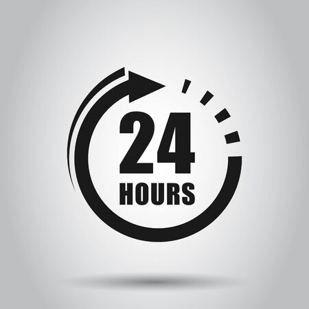 24 hours clock sign icon in flat style. Twenty four hour open vector illustration on isolated background. Timetable business concept. Illustration