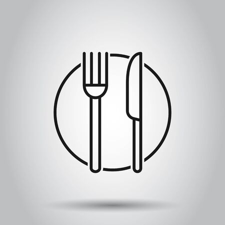 Fork, knife and plate icon in flat style. Restaurant vector illustration on isolated background. Dinner business concept. Ilustracja