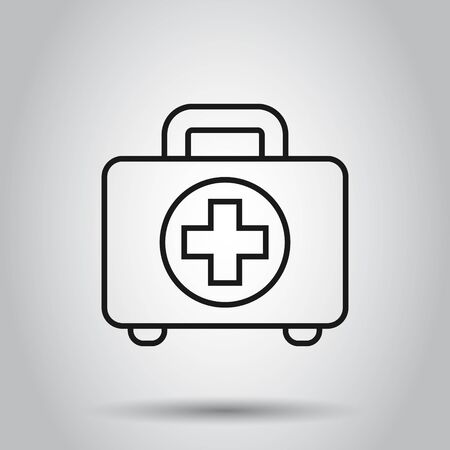 First aid kit icon in flat style. Health, help and medical diagnostics vector illustration on isolated background. Doctor bag business concept.
