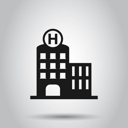 Hospital building icon in flat style. Infirmary vector illustration on isolated background. Medical ambulance business concept.