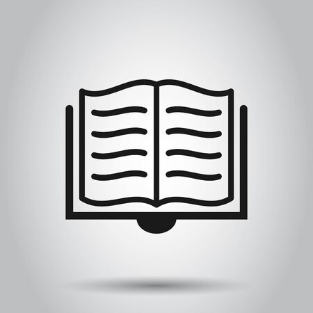 Open book icon in flat style. Literature vector illustration on isolated background. Library business concept.