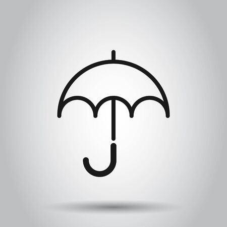 Umbrella icon in flat style. Parasol vector illustration on isolated background. Umbel business concept.