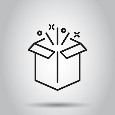 Gift box icon in flat style. Magic case vector illustration on isolated background. Present business concept.