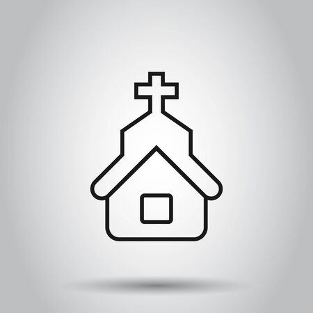 Church icon in flat style. Chapel vector illustration on isolated background. Religious building business concept. Иллюстрация