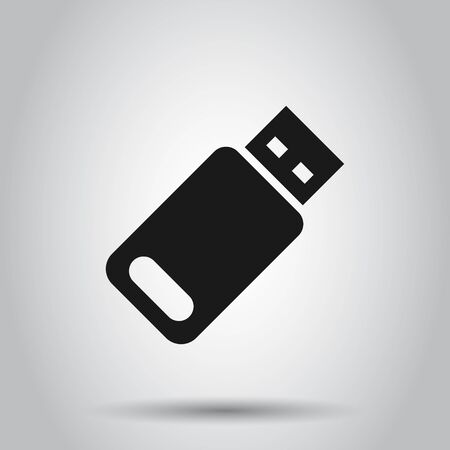 Usb drive icon in flat style. Flash disk vector illustration on isolated background. Digital memory business concept.