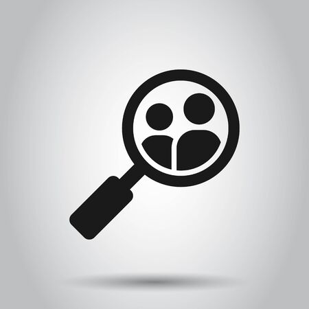 Search job vacancy icon in flat style. Loupe career vector illustration on isolated background. Find people employer business concept.