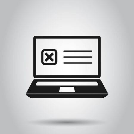 Questionnaire laptop icon in flat style. Online survey vector illustration on isolated background. Checklist report business concept.
