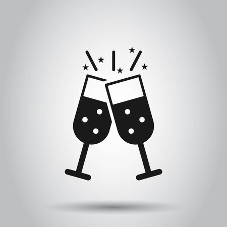 Champagne glass icon in flat style. Alcohol drink vector illustration on isolated background. Cocktail business concept.