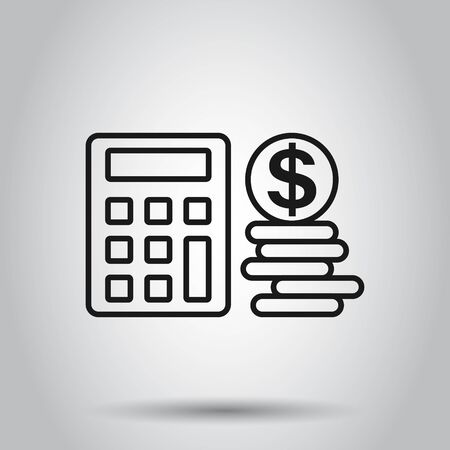 Money calculation icon in flat style. Budget banking vector illustration on isolated background. Financial payment business concept. 向量圖像